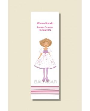 Punto de libro primera comunión niña pelo rizado