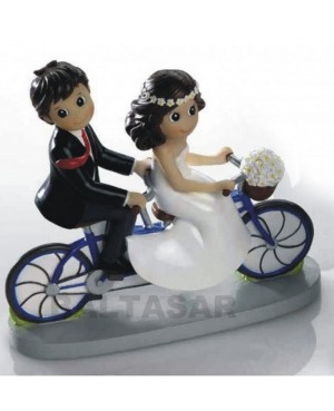 Figura Novios para pastel novios en bicicleta