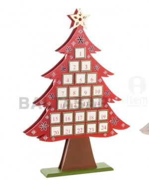 CALENDARIO DE ADVIENTO MADERA ARBOL DECORADO