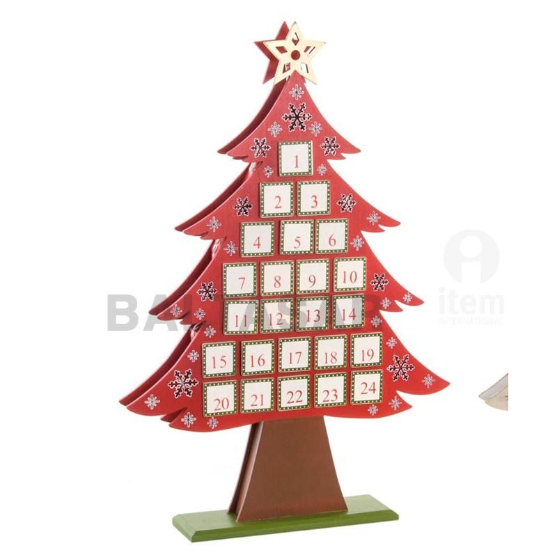 Calendario de adviento madera arbol decorado imprenta - Calendario adviento madera ...