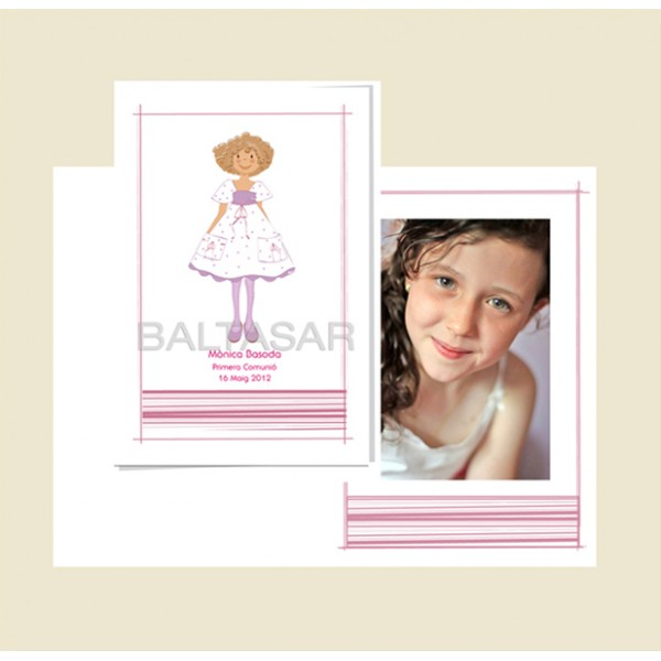 portafoto personalizado primera comunión niña pelo rizado