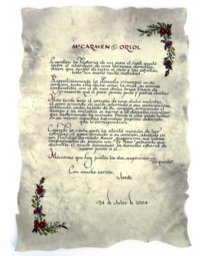 pergamino hecho a mano orla flores