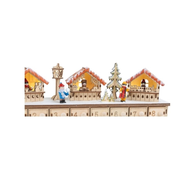 Calendario de adviento madera mercado navidad escena - Calendario adviento madera ...