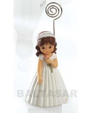 Niña comunión con flor figurita portanotas