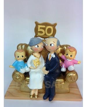 Figura pastel bodas de oro con nietos