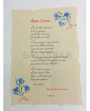 Pergamino Boda Flor Azul
