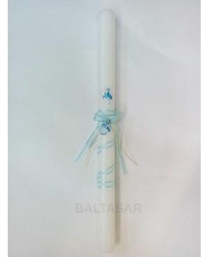Vela bautizo con chupete azul decorado