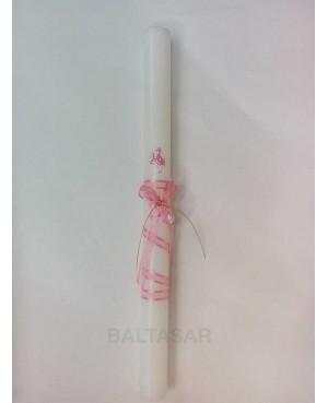 Vela bautizo con chupete rosa decorado