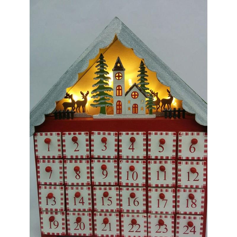 Calendario de adviento madera casita nevada imprenta - Calendario adviento madera ...