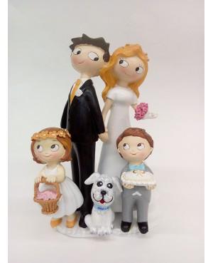 Figura Novios con hijos y perro personalizado