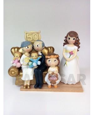 Figura pastel bodas de oro abuelos con nietos