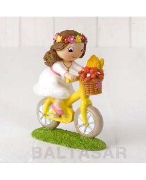 Figura pastel niña Comunión en bici 13,5cm