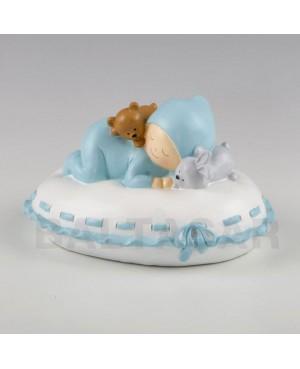 Figura niño para pastel y hucha bebé almohada azul 16x10x14cm