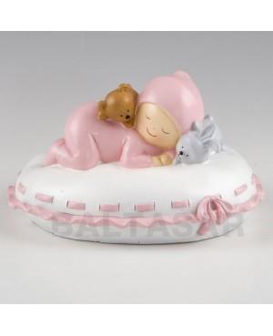 Figura niña para pastel y hucha bebé almohada rosa