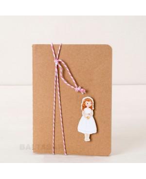 Libreta pequeña con figura de niña de Comunión
