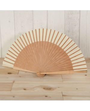 Abanico madera natural y tela marfil 23cm.