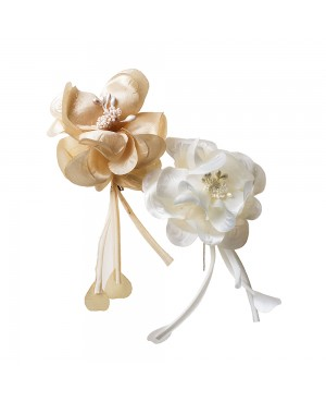 Broche flor marfil/beige 17cm., min.12