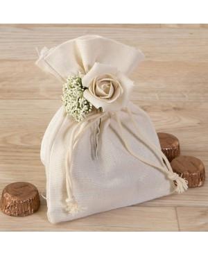 Bolsa de algodón con bouquet floral y 4 bombones