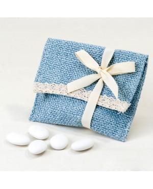 Bolsita algodón azul con puntilla