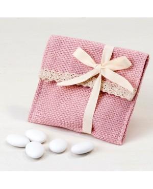Bolsita algodón rosa con puntilla