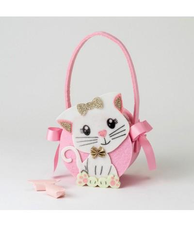 Cestito rosa de fieltro, con gatito