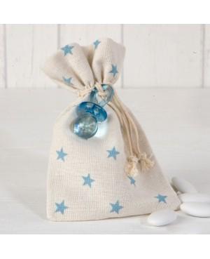 Bolsa algodón estrellas azules chupete 5 peladillas chocolate