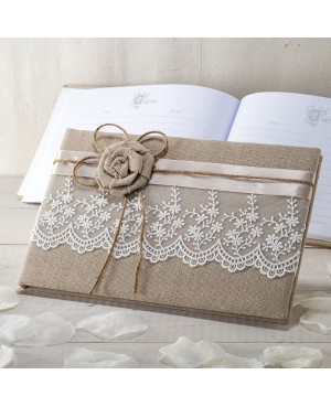Libro de firmas yute con flor y puntilla