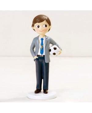 Figura para pastel niño Comunión con pelota de fútbol
