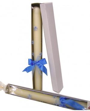cirio bautizo azul florecitas